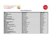 FILMS ÉTRANGERS 2011 - Semaine de la Critique