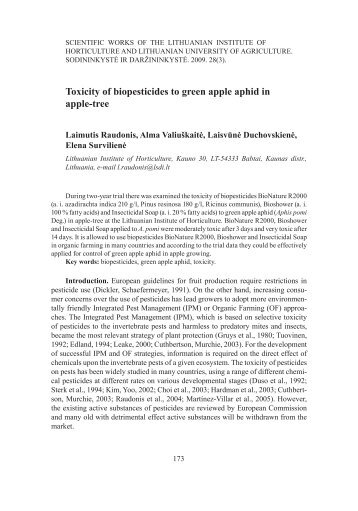 Toxicity of biopesticides to green apple aphid in apple-tree