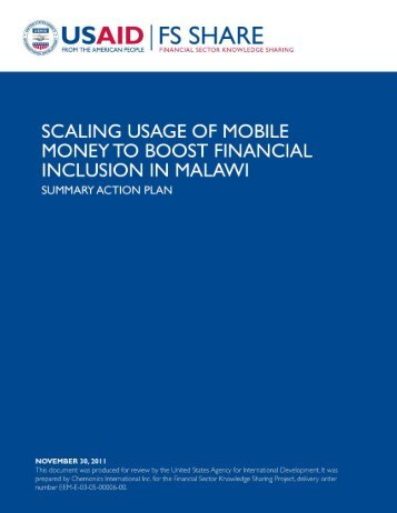 Scaling Usage of Mobile Money to Boost Financial Inclusion in Malawi