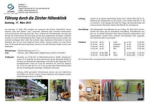 Führung durch die Zürcher Höhenklinik - insieme | Zürcher Oberland