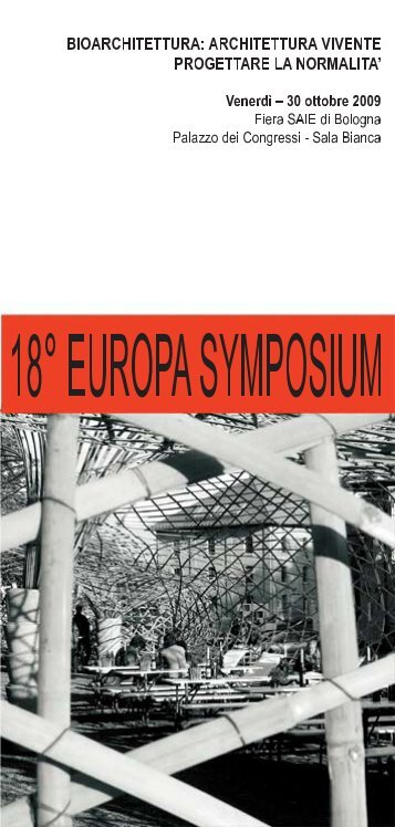 SAIE - 18. Europasymposium - Bioarchitettura® Rivista