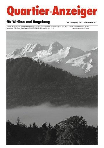 Ausgabe 7, November 2013 - Quartier-Anzeiger für Witikon und ...