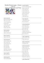 Barclays Premier Reserve League fixtures - Premierleague com