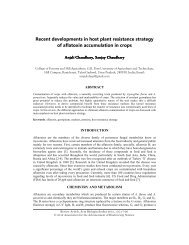 Recent developments in host plant resistance strategy of aflatoxin ...