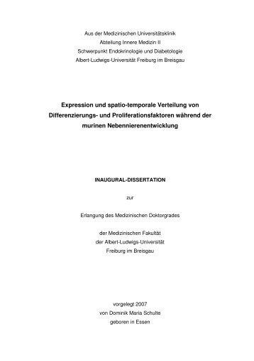 Expression und spatio-temporale Verteilung von Differenzierungs ...