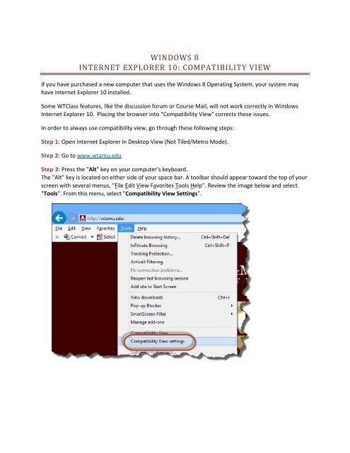 WINDOWS 8 INTERNET EXPLORER 10: COMPATIBILITY VIEW