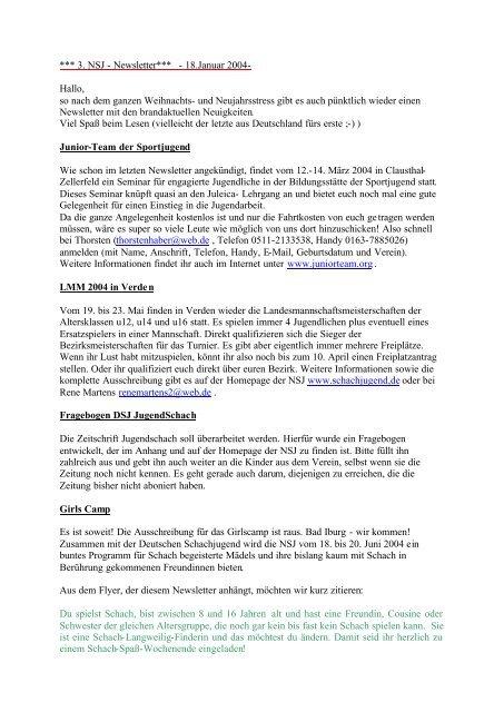 Newsletter 3 - Niedersächsische Schachjugend