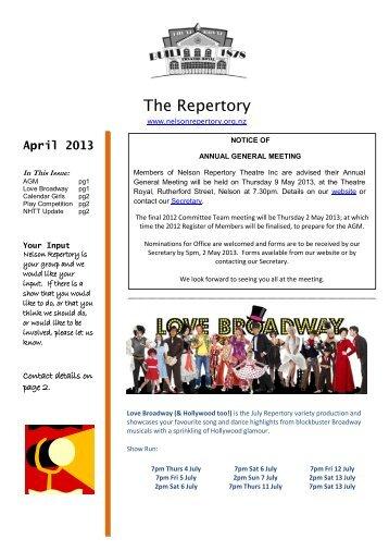 April 2013 - Nelson Repertory Theatre