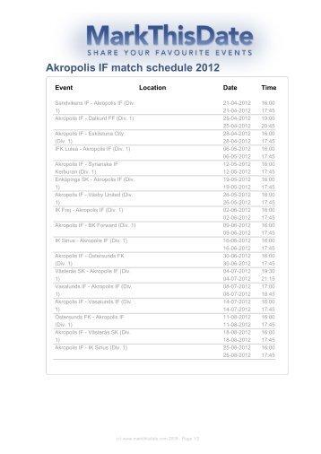 Akropolis IF match schedule 2012 - MarkThisDate