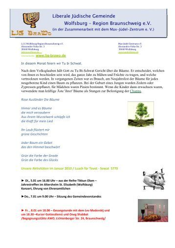 Plan für Januar 2010 - Liberale Jüdische Gemeinde Wolfsburg ...