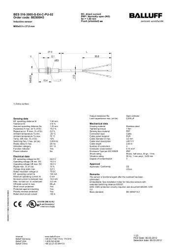 BES 516-3005-G-E4-C-PU-02 Order code: BES00H3 - Kempston ...