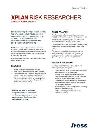 XPLAN Risk Researcher Factsheet - IRESS New Zealand