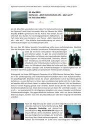 """20. Mai 2010 Konferenz """"Mehr Sicherheit für alle – aber wie?"""" im ..."""
