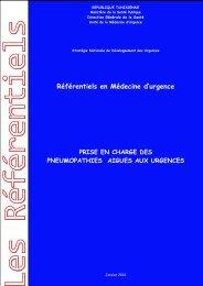 Référentiels en Médecine d'urgence - Ministère de la santé publique