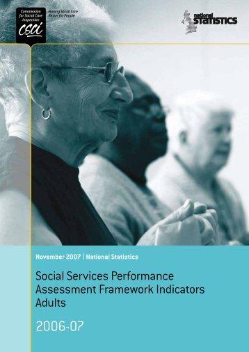 Social Services Performance Assessment Framework Indicators Adults