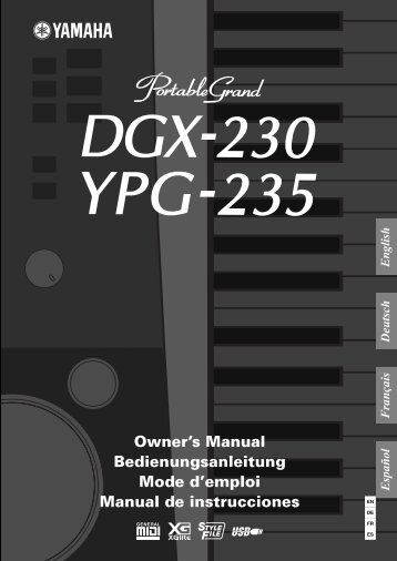 DGX-230/YPG-235 Owner's Manual - Yamaha Downloads