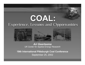 Coal: Experience, Lessons and Opportunities - Swanson School of ...