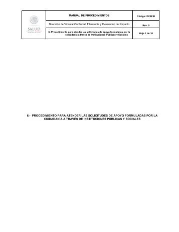 6.- procedimiento para atender las solicitudes de apoyo ... - Inicio