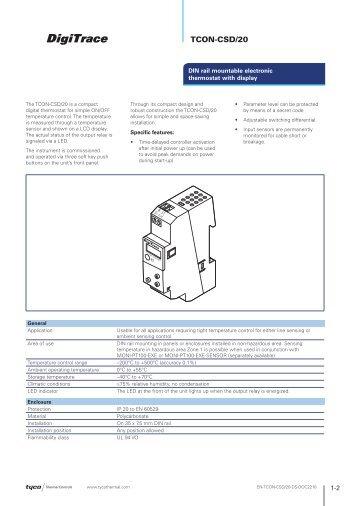 TCON-CSD/20 - Tyco Thermal Controls