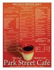 Park Street Cafe Menu - Alice Hyde Medical Center