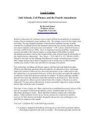 Legal Update Safe Schools, Cell Phones, and the Fourth Amendment