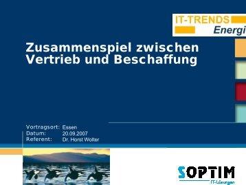 forum 7.1. SOPTIM Zusammenspiel zwischen Vertrieb und Beschaffung ...