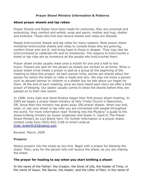 Prayer Shawl Ministry Information & Patterns About prayer