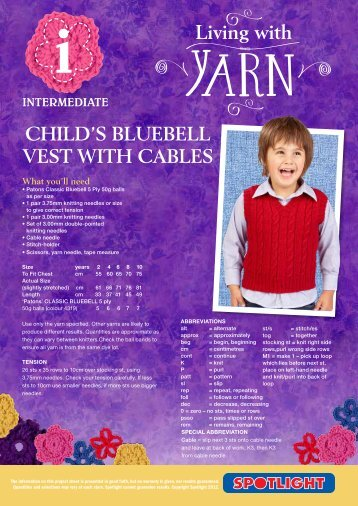 Child's Bluebell vest With cables - Spotlight Promotions
