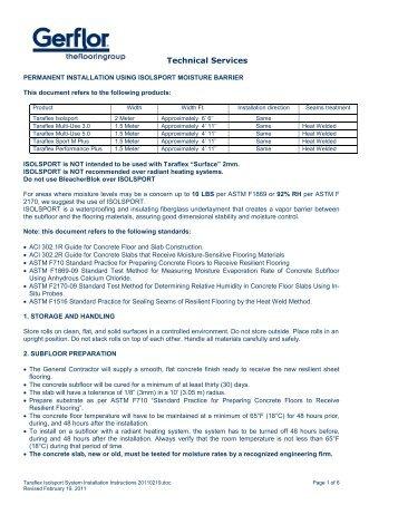 Taraflex isolsport system installation instructions 2011 ... - Gerflor USA
