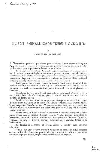 LILIECII, ANIMALE CARE TREBUIE OCROTITE