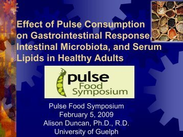 Impact of pulse consumption on intestinal ... - Pulse Canada