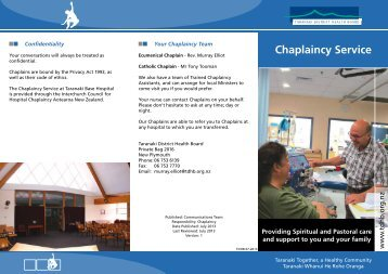 Chaplaincy Service - Taranaki District Health Board
