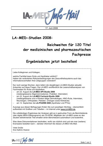 LA-MED-Studien 2008: Reichweiten für 120 Titel ... - bei der LA-MED