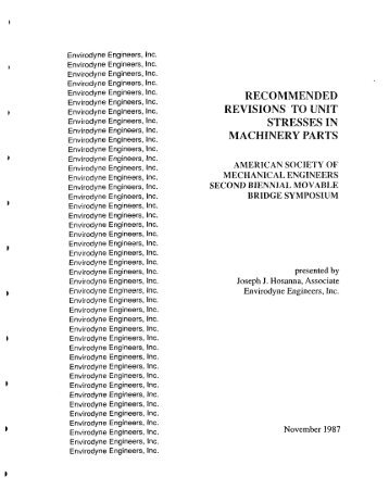 Recommended Revisions to Unit Stresses in Machinery Parts (367 ...