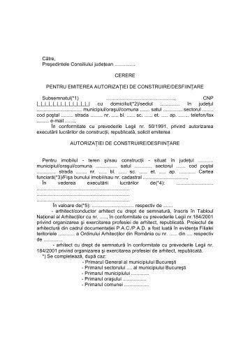 Cerere pentru emiterea autorizatiei de construire/desfiintare
