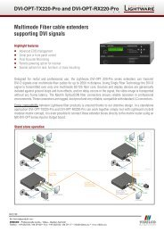 Multimode Fiber cable extenders supporting DVI signals - VIDELCO