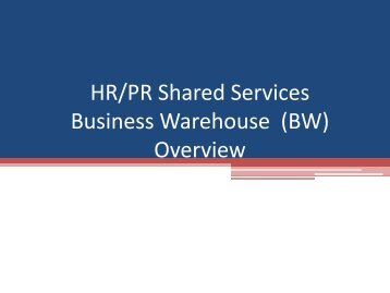 (BW) Overview - Shared Services Home Page