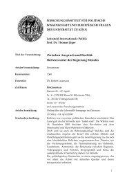 Bolivien unter der Regierung Morales - Lehrstuhl für Internationale ...