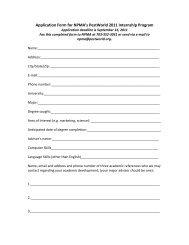 Application Form for NPMA's PestWorld 2011 Internship Program