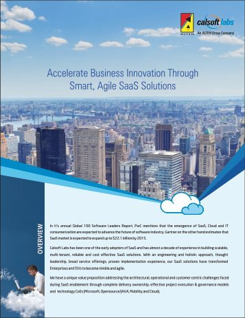Accelerate B Smart, Agile SaaS Solutions usiness ... - Calsoft Labs