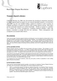 Tenancy deposit schemes - Blake Lapthorn