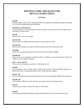 Housing Code Checklist for Rental Inspections - the Town of Dennis
