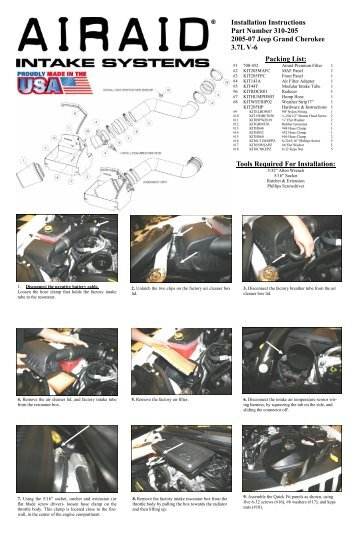 Installation Instructions Part Number 310-205 2005-07 Jeep ... - Airaid
