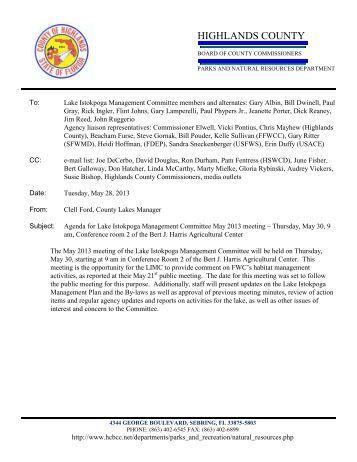 May 30, 2013 Agenda & Minutes - Highlands County