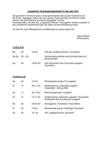 Veranstaltungen 2012 Langsdorf