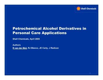 Petrochemical Alcohol Derivatives in Personal Care Applications