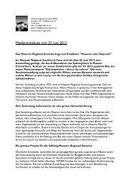 Medienmitteilung vom 27. Juni 2012 - Museum Regiunal Surselva