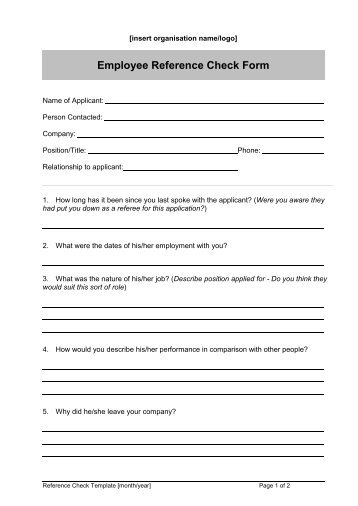 Employee Reference Check Template  Employment Reference Form Template