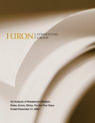 An Analysis of Restatement Matters - Huron Consulting Group
