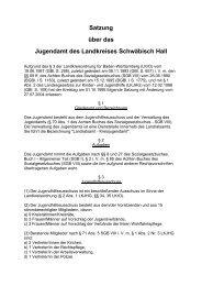 Satzung über das Jugendamt des Landkreises Schwäbisch Hall